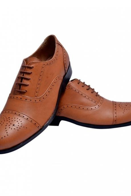 HandeMade Men Genuine Leather Brogue Oxford Cap Round Toe Formal Dress Shoes For Men