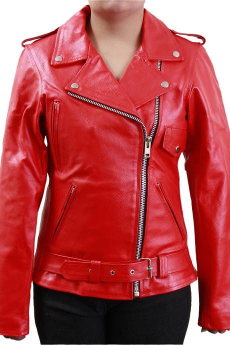 Women's Red Front Belt Biker Leather Jacket