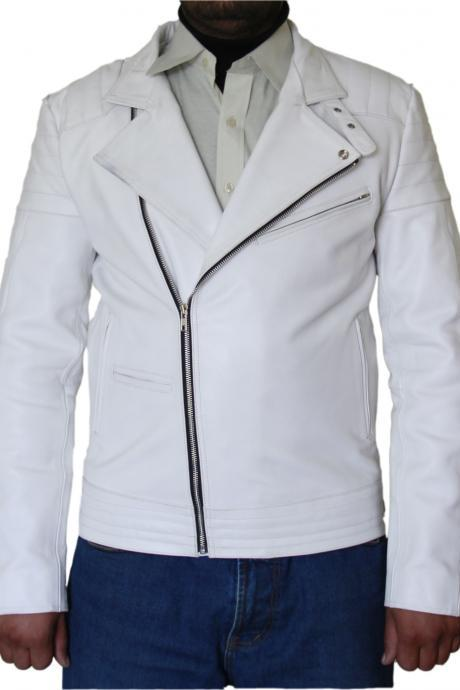 Men's White Biker Leather Jacket Dva