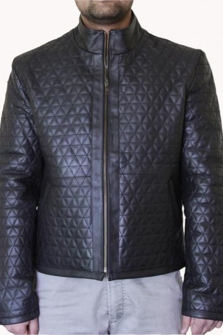 Men's Diamond Stitching Dark Brown Quilted Leather Jacket