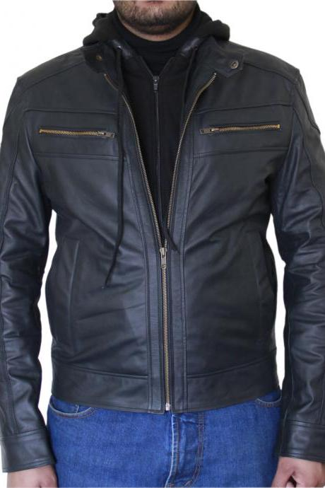Men's Black Biker Leather Jacket Dva with Fleece Hoodie