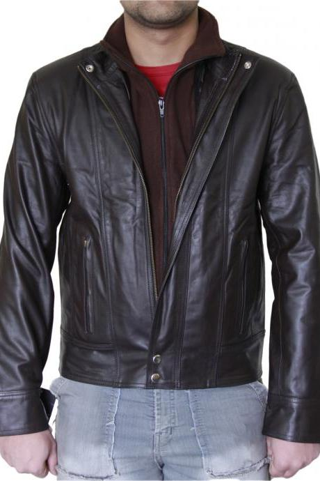 Men's Double Front Dark Brown Biker Leather Jacket
