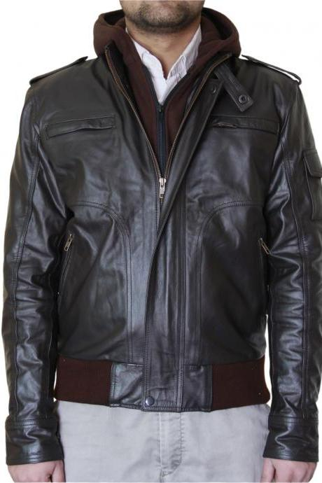 Men's Dark Brown Biker Leather Jacket with Fleece Hoodie
