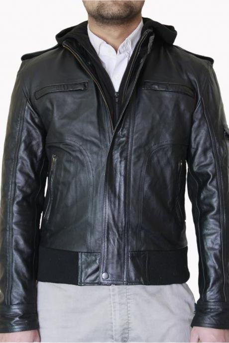 Men's Black Biker Leather Jacket with Fleece Hoodie