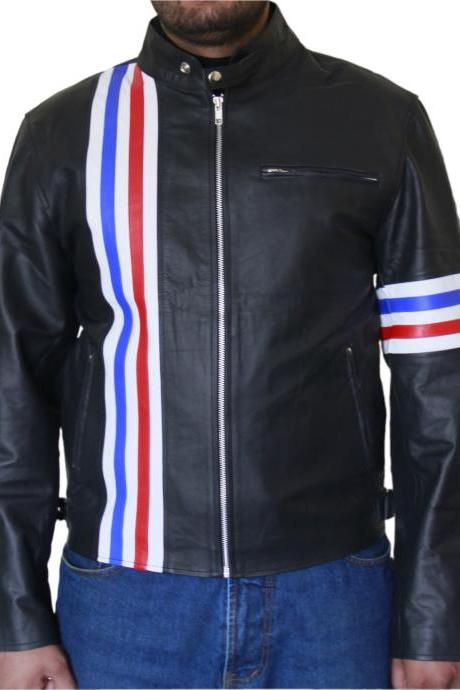 Men's Black Biker Leather Jacket with Colorful Stripes