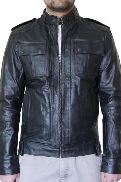 Men's Black Stud Pocket Biker Leather Jacket