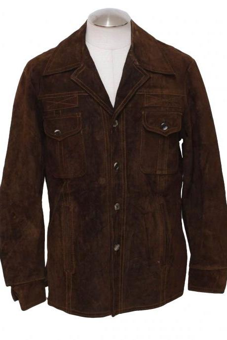 Men's Buttoned Dark Brown Suede Leather Jacket