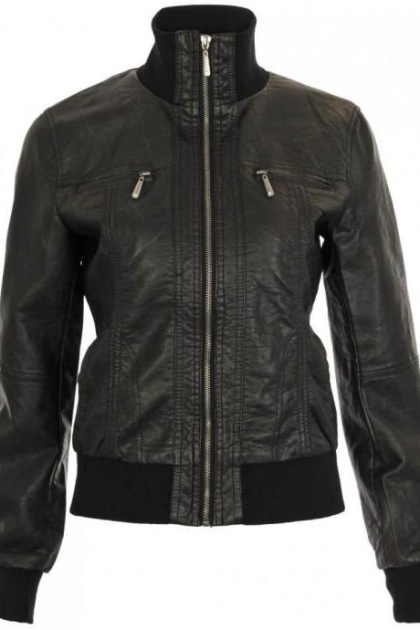Women's Jedan Black Bomber Leather Jacket