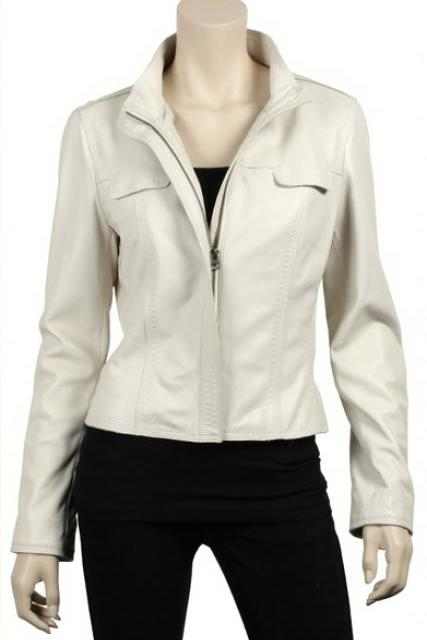Women's Short White Biker Leather Jacket