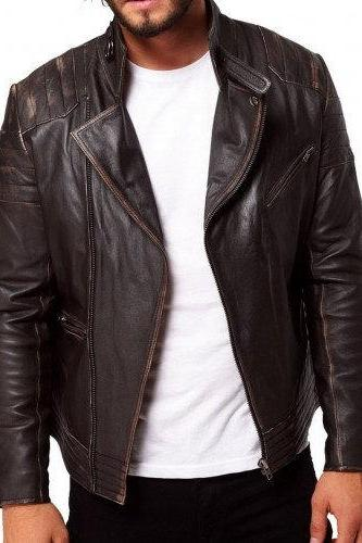 Men's Rugged Dark Brown Biker Leather Jacket