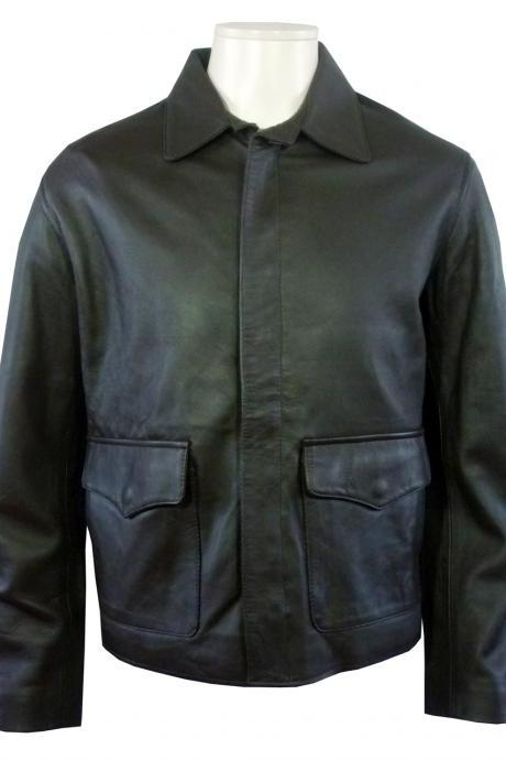 Men's Classic Bomber Leather Jacket Dva