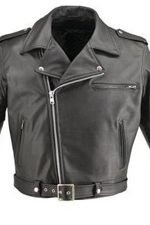 Mens Classic Biker Leather Jacket Tre