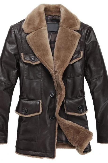 Hand Made made to order Genuine Mens Shearling Leather Fur Collar & Front Jacket Caot