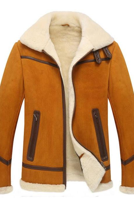 Made To Hand Tan Shearling Suede Leather Men's Jacket With Front Zippered Pockets And Hanging Loop, And Leather Stripes On Waist, Chest And Sleeves