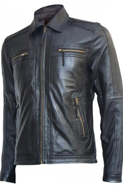 Made To Hand Men's Stylish Slim Fashion Leather Jacket In Black Color With Stylish Shirt Design Collar, Snap Button Cuffs, Front Zippered Closure And Four Cross Zipper Front Pockets