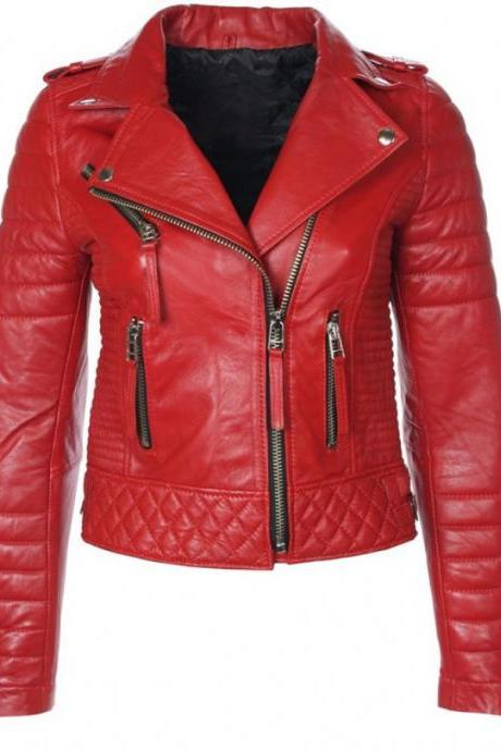 Handmade Women's Leather Biker Jacket Red Color , Zipper Pockets And Side Zipper Closure, Padding Shoulder & Arms