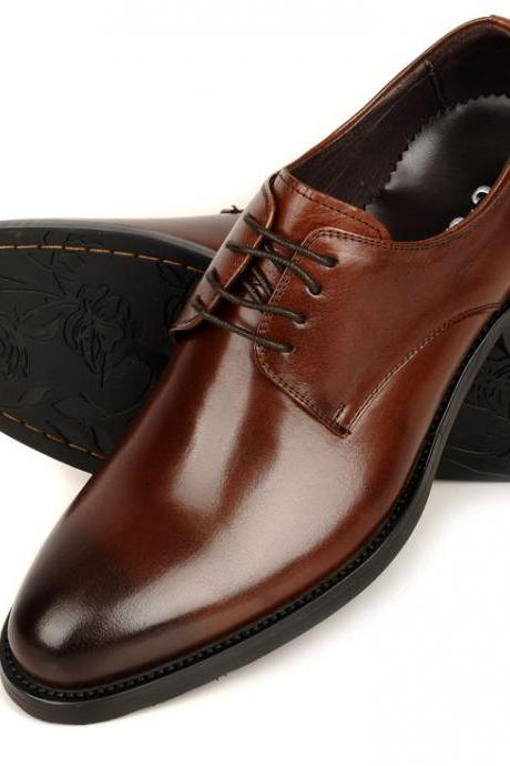 Men's handmade Derby Brown Black Pointed Toe Leather Shoes