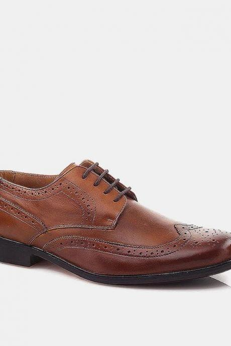 Customized Brown Color With Black Sole Brogue Handmade Leather Derby Dress Shoes For Men