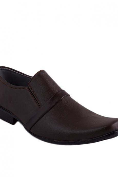 Customized Handmade Chocolate Brown Formal Slip On Real Leather Men's Dress Shoes With Plain Square Toe Made To Order