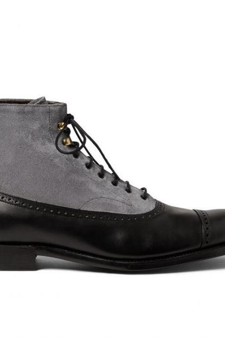 Customized Handmade Gray And Black Color Suede Leather High Ankle Men's Boots With Lace Up, Cap Toe And Back Pull Made To Order