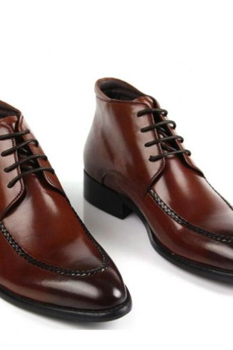 Customized Handmade Burgundy Color Leather Men's Dress Ankle Shoes With Black Shades Apron Toe And Black Sole Made To Order