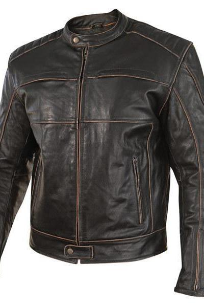 Customized Handmade Dark Brown Color Biker Fashion Leather Men's Jacket With Stylish Lower Collar, Brown Piping On Sleeves,Shoulder And Chest,Zippered And Snap Button Cuffs, Front Zippered Closure With Wind Flap, And Front Zippered Pockets