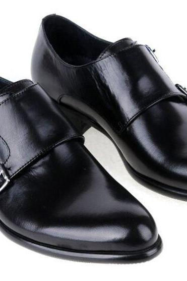 Customized Handmade Black Color Monk Leather Men's Dress Shoes Double Strap Buckle And Plain Toe Made To Order