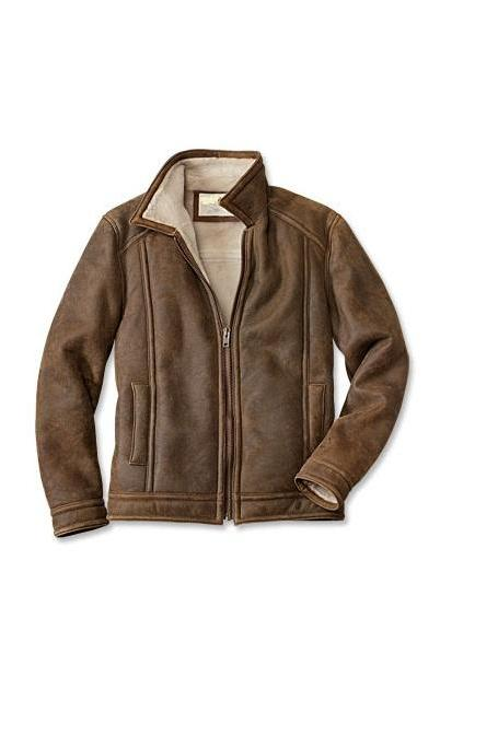 Customized Handmade Distressed Brown Color Shearling Fashion Leather Men's Jacket With Front Zippered Closure And Open Hand Front Pockets Made To Order