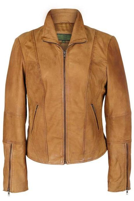 Customized Handmade Tan Color Biker Fashion Leather Women's Jacket With Seam Design, Zippered Cuffs And Front Zippered Pockets Made To Order