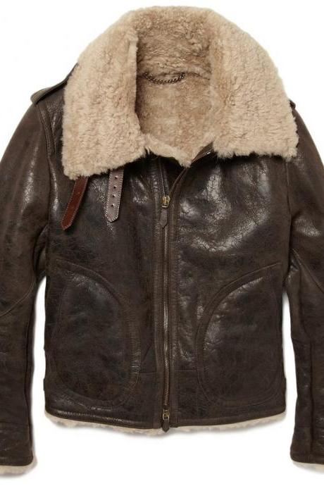 Customized Handmade Brown Color Shearling Fashion Leather Men's Jacket With Belted Collar,Front Zippered Closure And Open Hand Pockets Made To Hand