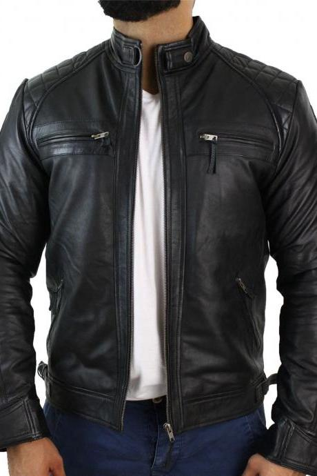 Customized Handmade Black Color Bikers Men's Fashion Leather Jacket Quilted Shoulders,Snap Button Low Collar Design,Snap Button Cuffs, Front 4 Cross Zippered Pockets Made To Order