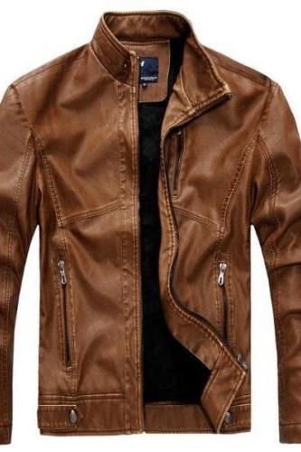 Customized Handmade Brown Color Bikers Men's Fashion Leather Jacket Front Zippered Closure,Hand Pockets And Chest Vent On Left Side Made To Order