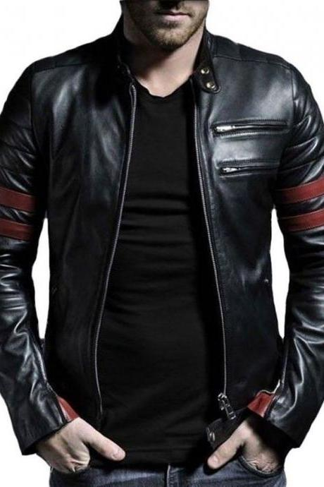 Customized Handmade Black Color Bikers Men's Fashion Leather Jacket With Burgundy Strips On Sleeves, Double Chest Vents On Left Side Made To Order