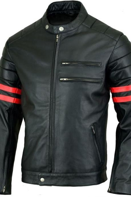 Customized Handmade Black Color Bikers Men's Fashion Leather Jacket Red Strips On Sleeves, Padding Design Shoulders, Zippered Pockets , Cuffs And Front Closure Made To Order