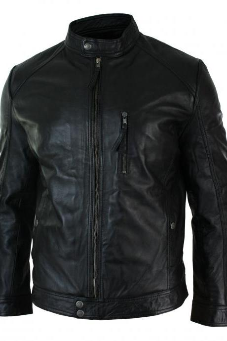 Customized Handmade Black Color Bikers Men's Fashion Leather Jacket Slim Design Jacket For MotorBikes With Snap Button Cuffs,Waist And Tab Collar Made To Order
