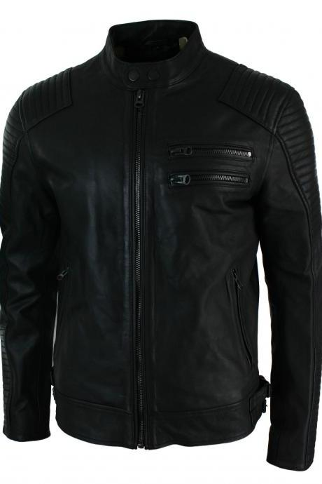 Customized Handmade Black Color Bikers Men's Fashion Leather Jacket Padding Design Shoulders, Double Chest Vent On Left Side, Front Zippered Pockets And Double Snap Button Collarless Made To Order