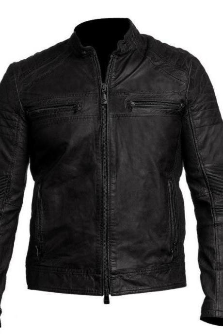 Customized Handmade Black Color Bikers Men's Fashion Leather Jacket Perfect For MotorBikes With Slim Design Quilted Shoulders Made To Order
