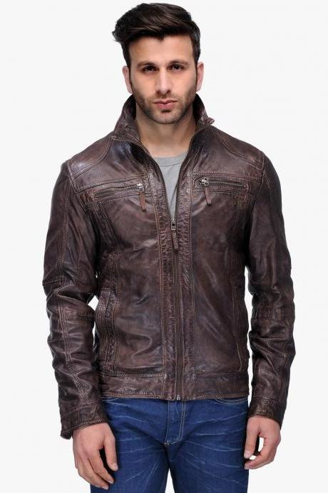 Customized Handmade Brown Color Bikers Men's Slim Fashion Leather Jacket Cross Chest Vents And Front Hand Pockets Snap Button Cuffs Stylish Design Leather Jacket Made To Order