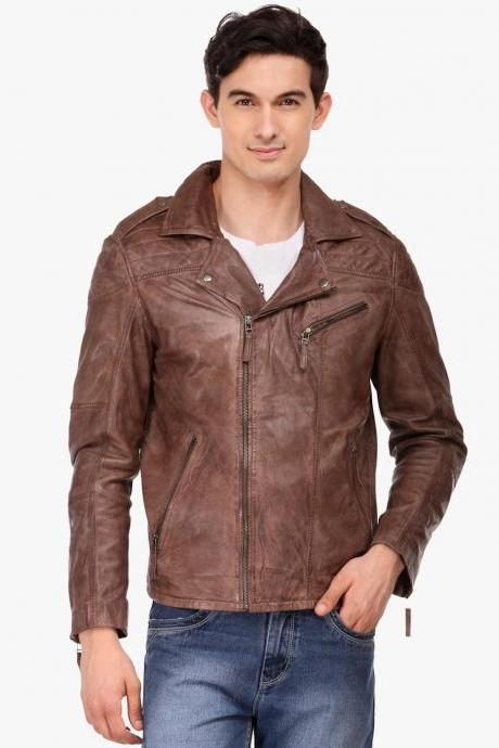 Customized Handmade Brown Color Brando Bikers Men's Slim Fashion Leather Jacket With Side Zippered Closure, Shoulder Epaulets, Lapels Fastener, Zippered Cuffs And Pockets Made To Order