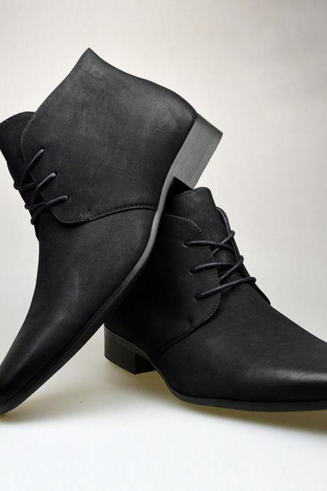 Customized Handmade Black Color Chukka Leather Men's Dress Shoes With Plain Pointed Toe And Lace Up Made To Order