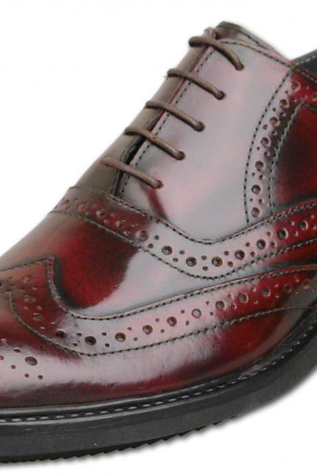 Customized Handmade Burgundy Color Brogue Formal Leather Men's Dress Shoes With Lace Up Made To Order