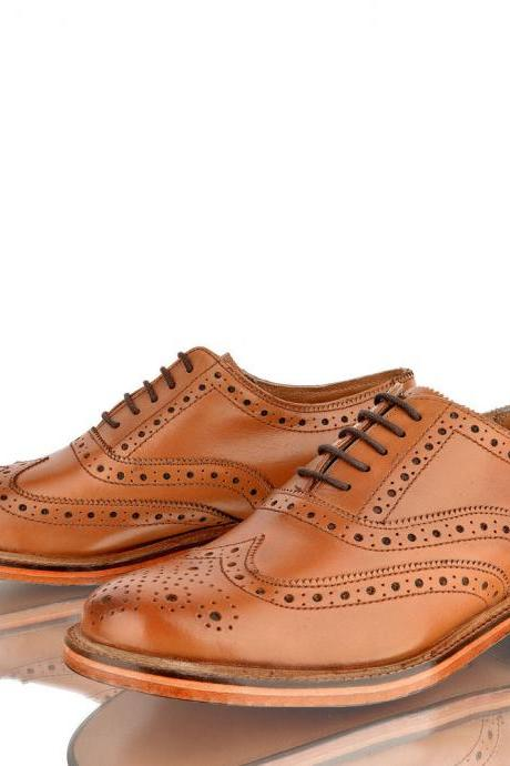Customized Handmade Tan Color Oxford Brogue Formal Leather Men's Dress Shoes Made To Order