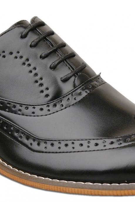 Customized Handmade Black Polish Oxford Brogue Formal Leather Men's Dress Shoes Contrast Sole And Lace Up Made To Order