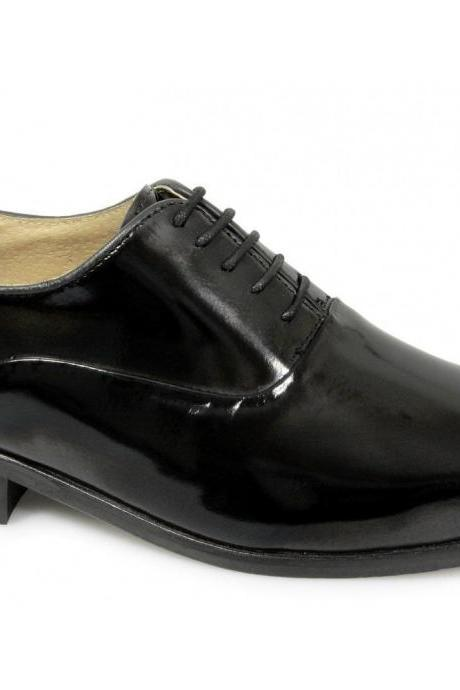 Customized Handmade Black Color Formal Leather Men's Oxford Dress Shoes Plain Toe With Black Polish Perfect For Business And Weedings Made To Order