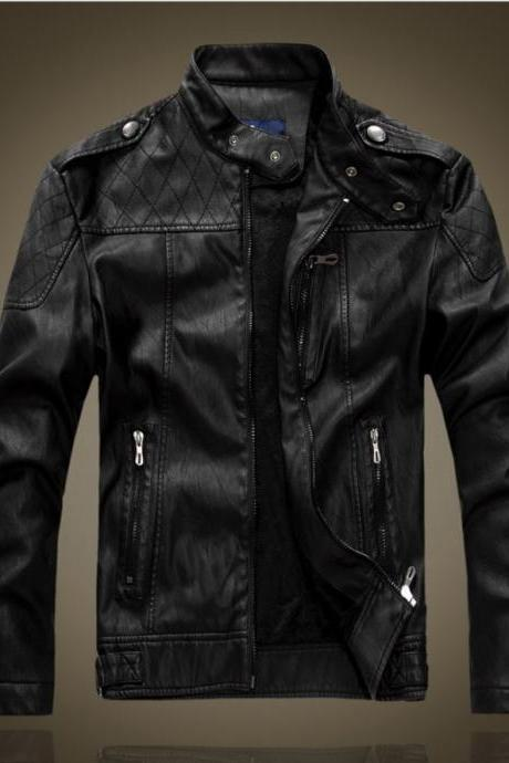Customized Handmade Black Color Bikers Men's Slim Fashion Leather Jacket Quilted On Shoulders And Chest, Zippered Pockets, Shoulders Epaulet Made To Order