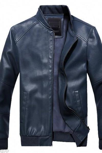 Customized Handmade Blue Color Bikers Men's Fashion Leather Jacket Rib Cuffs And Stretchable Rib Waist, Low Collar And Seam Works On Sleeves And Shoulders Made To Order