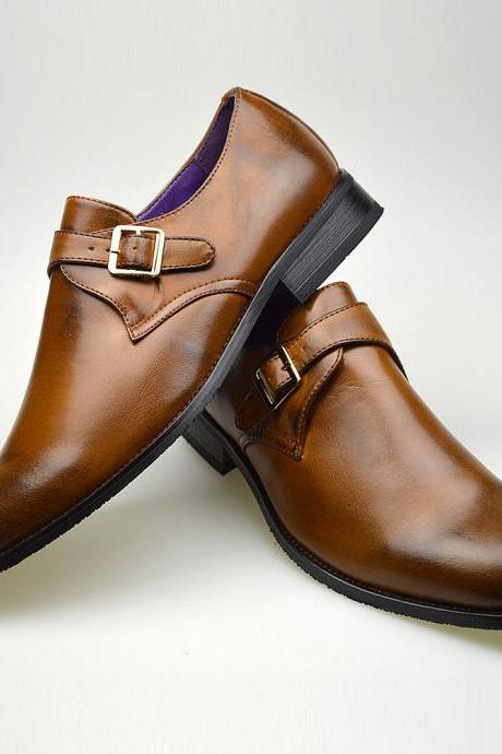 Customized Handmade Tan Color Monk Leather Men's Dress Shoes With Single Strap Buckle And Black Color Toe And Sole Made To Order