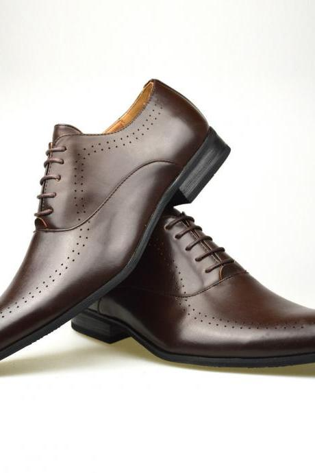 Customized Handmade Brown Color Oxford Leather Men's Dress Shoes Formal Casual Leather Shoes Best For Events Made To Order