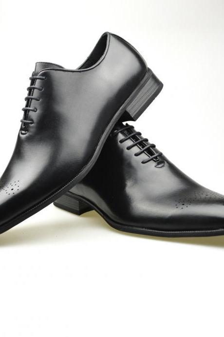 Customized Handmade Black Color Oxford Leather Men's Dress Shoes With Brogue Toe And Lace Up Made To Order