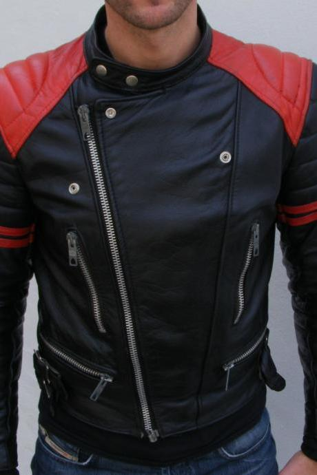 Customized Handmade Black Color Bikers Men's Leather Jacket With Contrast Strips On Sleeves And Shoulders With Padding Design, Collarless Design With Snap Buttons, Zippered Pockets And Cuffs And Front Side Zippered Closure Made To Order